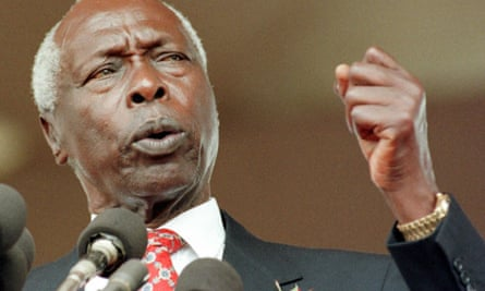 Daniel arap Moi delivering his inaugural speech after being sworn in for his final five-year term in Nairobi in January 1998.