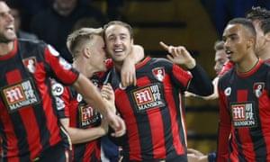 Glenn Murray celebrates scoring Bournemouth's winner at Chelsea.