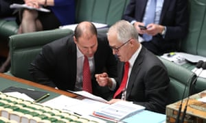 Energy minister Josh Frydenberg and prime minister Malcolm Turnbull during question time in the house of representatives in parliament house, Canberra 12 September 2017.