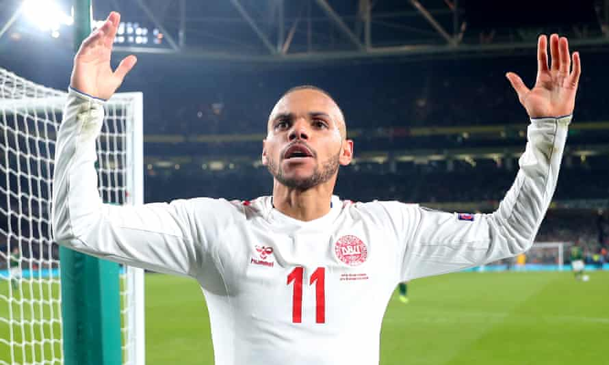 Martin Braithwaite celebrates after scoring in Dublin in the 1-1 draw with the Republic of Ireland that booked Denmark's place at the Euro 2020 finals.