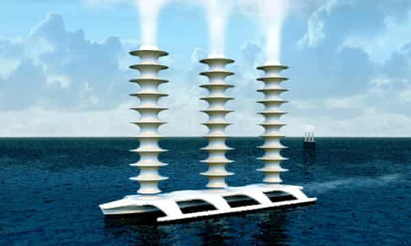 A conceptual Flettner ship, which would spray seawater into the air to enhance cloud reflectivity for marine cloud-brightening.