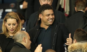 Former Real Madrid striker Ronaldo in the crowd in Paris.
