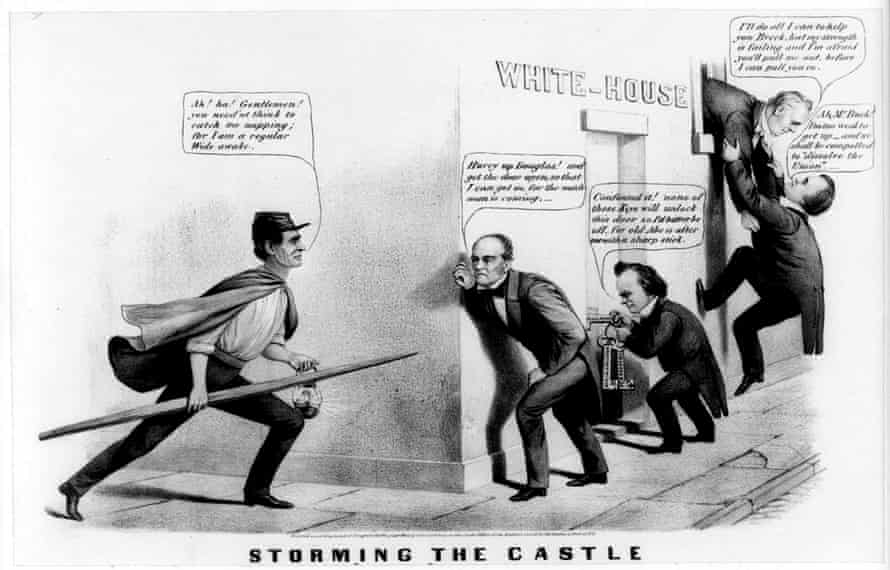 Lincoln as Wide Awake, in a news cartoon from 1860.
