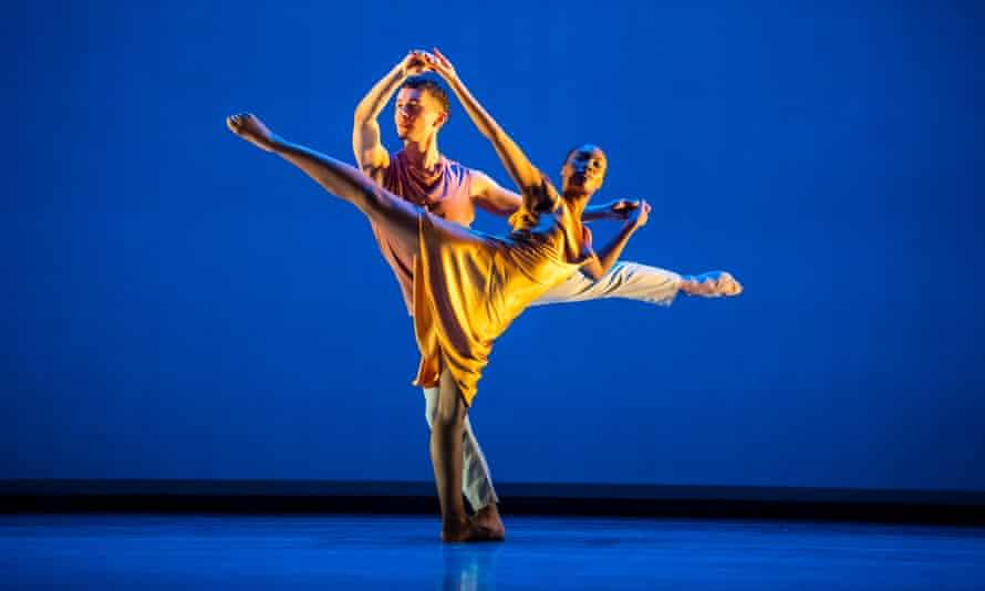Niall Egan and Monique Jonas dancing at Sadler's Wells with the Richard Alston Dance Company.