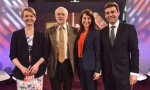 Labour leadership candidates Yvette Cooper, Jeremy Corbyn, Liz Kendall and Andy Burnham on BBC2's Newsnight
