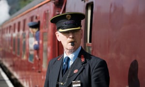 A guard on the North Norfolk Railway at Sheringham station