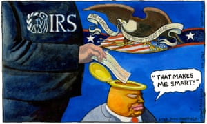 Guardian cartoonist Steve Bell's take on Donald Trump's tax chicanery.