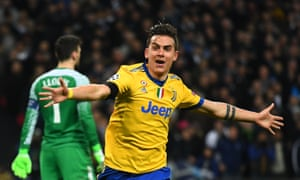 Paulo Dybala celebrates after putting Juventus 2-1 up on the night against Tottenham.