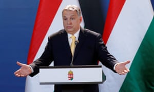 Hungarian prime minister Viktor Orbán  speaks during a press conference in Budapest on Tuesday.