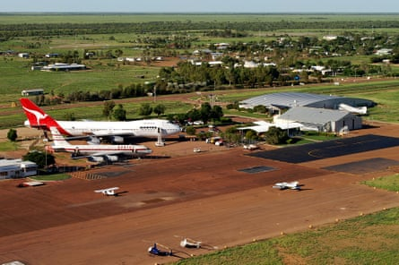 Aerial image of Longreach airport which is situated in Longreach, Queensland, Australia.