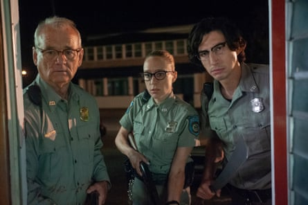 """(L to R) Bill Murray as """"Officer Cliff Robertson"""", Chloë Sevigny as """"Officer Minerva Morrison"""" and Adam Driver as """"Officer Ronald Peterson"""" in writer/director Jim Jarmusch's THE DEAD DON'T DIE, a Focus Features release. Credit : Abbot Genser / Focus Features © 2019 Image Eleven Productions, Inc."""