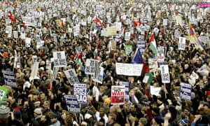 Thousands of people gather in Hyde Park in central London in 2003, after the anti-war march through the city