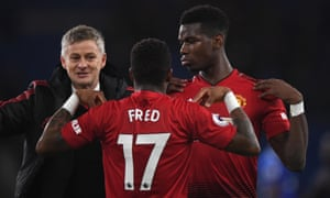Ole Gunnar Solskjær shares his delight with Fred and Paul Pogba, Manchester United players who were disaffected under José Mourinho.
