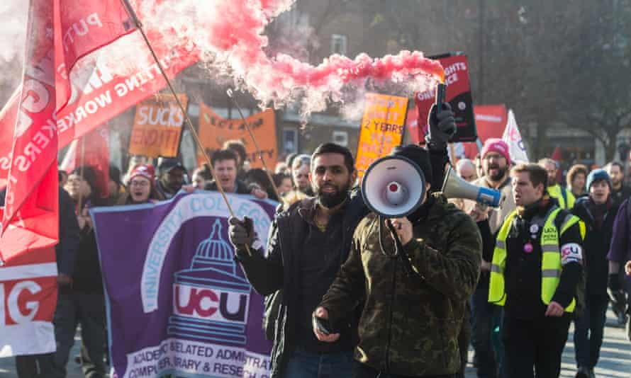 Striking members of the UCU and other unions at University College last year.