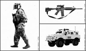 Illustration of Body armour, a 5.56mm Assault rifle and a Mine resistant vehicle