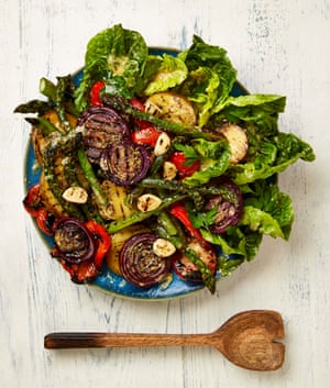 Yotam Ottolenghi's grilled vegetables with mustard and parmesan dressing