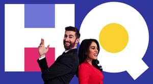 HQ Trivia quizshow presenters Scott Rogowsky and Sharon Carpenter
