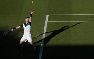 2018: Murray serves against Stan Wawrinka in the Nature Valley International championships at Devonshire Park in Eastbourne