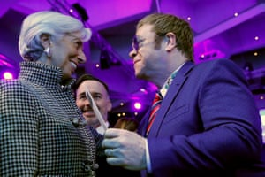 Elton John talks with Christine Lagarde, managing director of the IMF, in Davos this week.