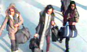 CCTV image of the three missing schoolgirls at Gatwick airport before they caught their flight to Turkey.