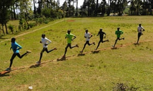 Kenyan athletes during their training in Iten in the Rift Valley in January.