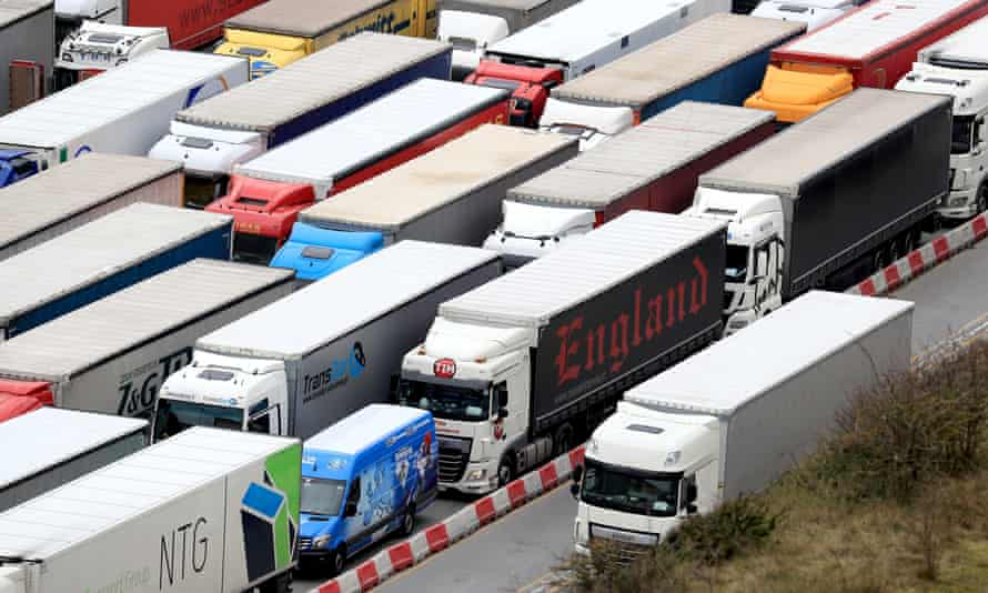 Lorries queue to enter the port of Dover.