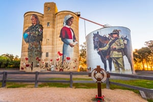 Another mural by Cam Scale, the Devenish silos in Victoria depict a first world war nurse and a modern female military medic. It portrays the changing role of women in the military and society. The mural was later updated with a tribute to the Australian Light Horse, mounted troops who served in the Boer War and the first world war.