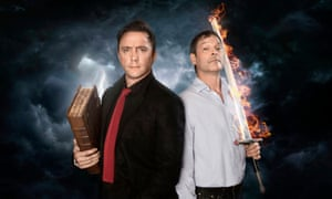 Apocalypse now and then … Peter Serafinowicz and Mark Heap in the BBC's radio adaptation of Good Omens, available on audio.