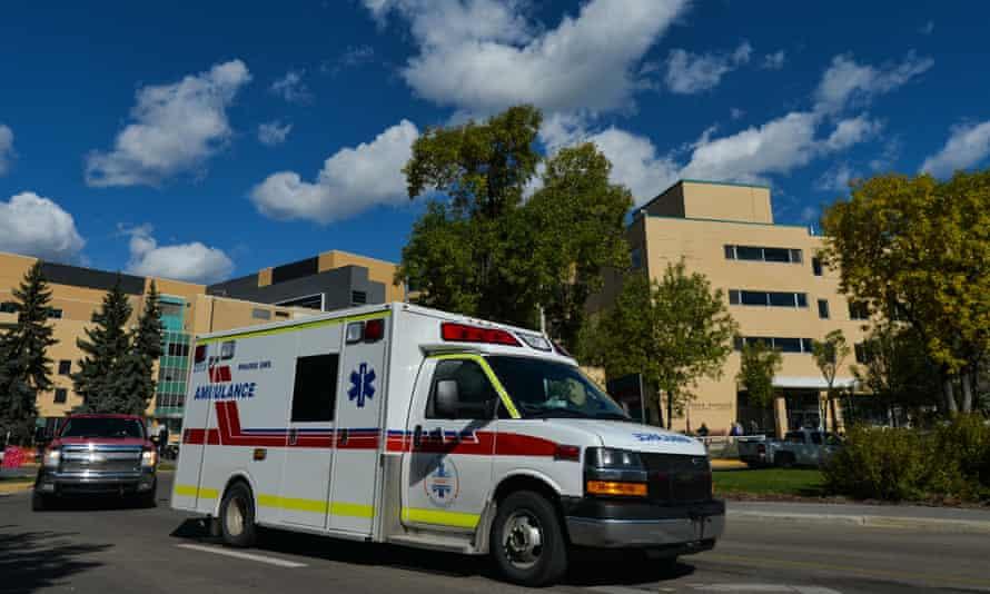An ambulance is seen outside the Royal Alexandra hospital in Edmonton.