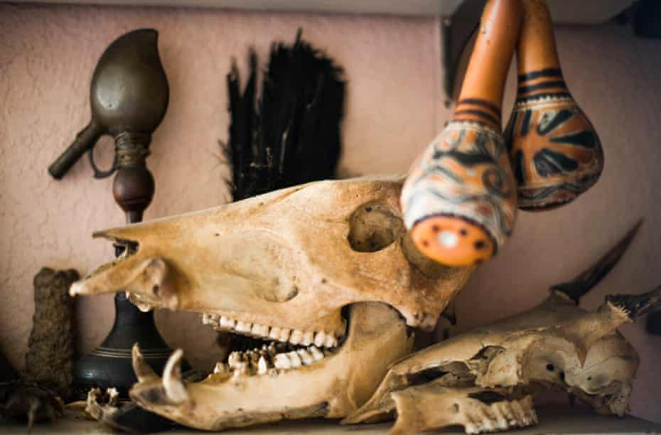 The shelves surrounding Peter Gorman's office are filled with artifacts from the Peruvian Amazon.