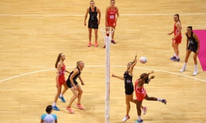 England's Kadeen Corbin competes for the ball against New Zealand during the Quad Series at the Liverpool Echo Arena in February.