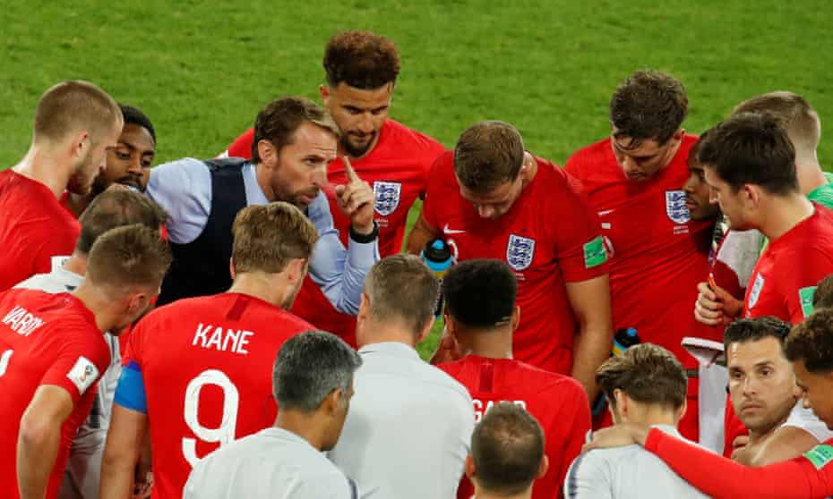 Gareth Southgate gees up his England team before their World Cup shoot-out.