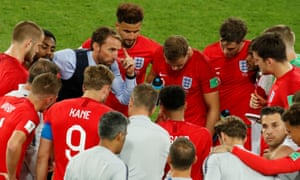Gareth Southgate with his team before the successful penalty shootout against Colombia in 2018.