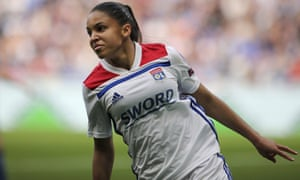 Lyon's Delphine Cascarino celebrates after scoring against Chelsea in their Women's Champions League semi-final in April.