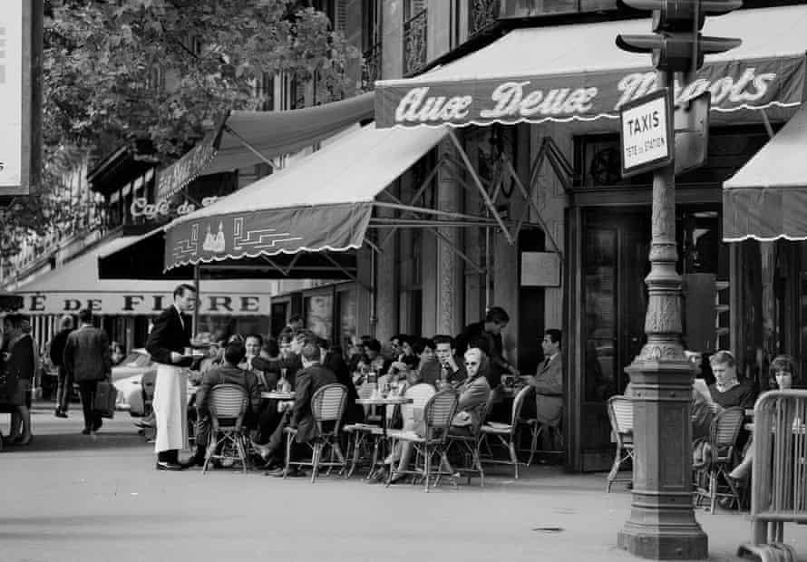 Les Deux Magots cafe on the boulevard Saint-Germain in 1962: Photograph Roger-Viollet/REX Shutterstock