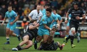 Bryce Heem of Worcester is stopped in his tracks by Newcastle during the recent Premiership encounter at Kingston Park. Newcastle won 17-6 but have since dropped back to the bottom of the Premiership.