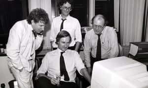 Journalists including Chris McKane (centre, seated) during the launch of the Independent in 1986.