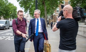 The Tory leadership contender Michael Gove being questioned by reporters in Whitehall earlier today.