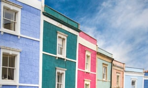 Brightly coloured terraced houses in Bristol