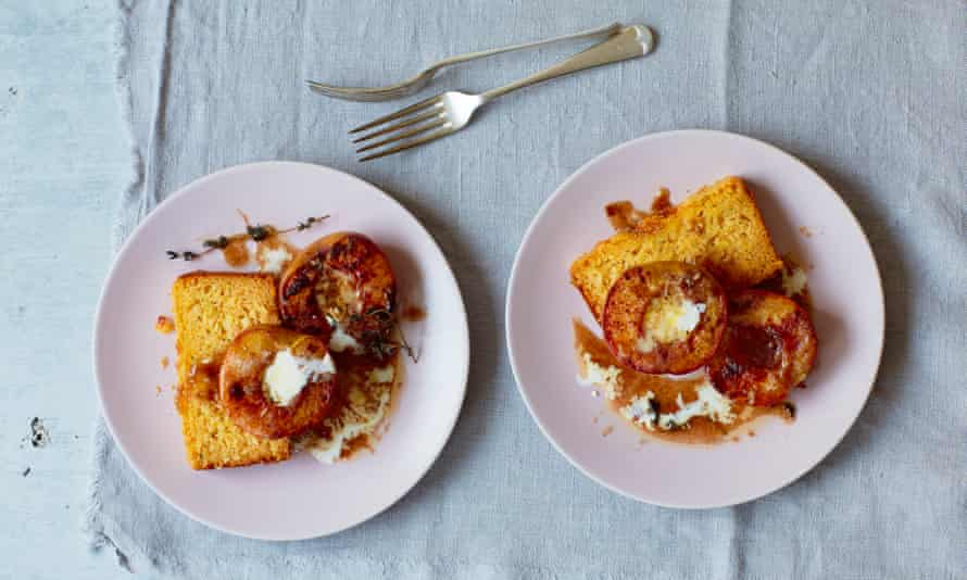 Toasted peaches with Thomasina Miers tequila and toasted cornbread.