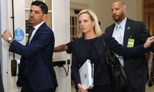 Kirstjen Nielsen arrives for a closed doors meeting with the Congressional Hispanic Caucus on 25 July, on Capitol Hill. In the meeting, she said the government was 'on track'.