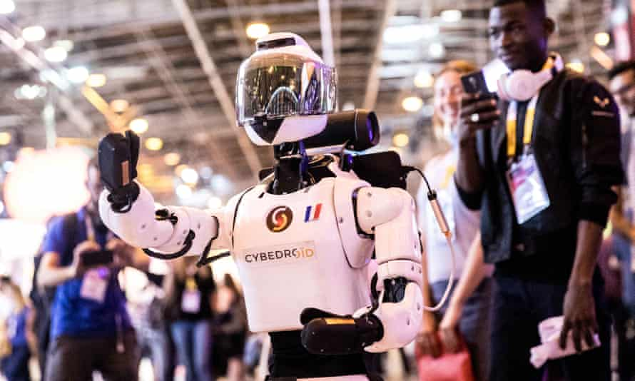 A Cybedroid robot presentation during the 2017 Viva Technology fair in Paris.