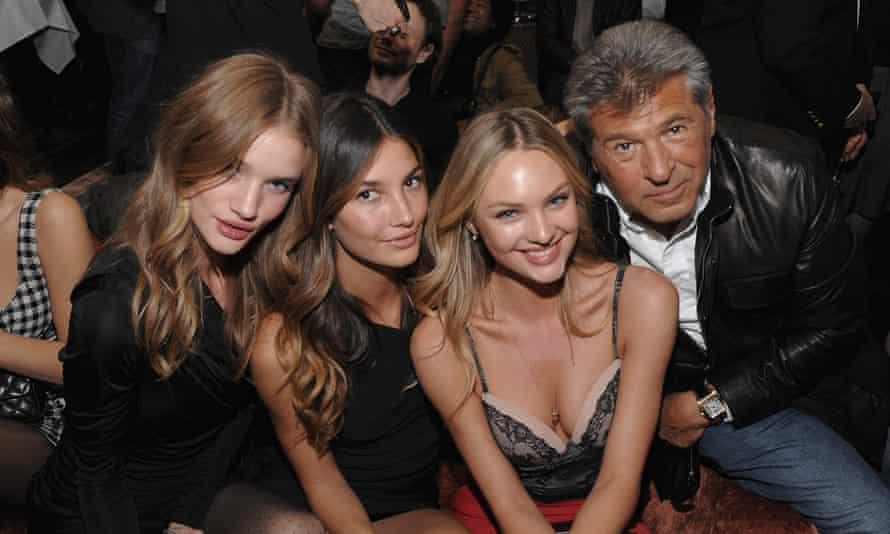 From left: models Rosie Huntington-Whiteley, Lily Aldridge, Candice Swanepoel and Ed Razek, president of Victoria's Secret.