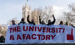 Higher education staff and students protest in London against university tuition fees, pay restraint and staff pensions cuts.