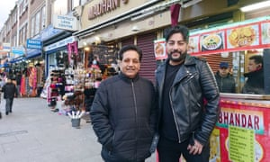 Bobby Friction (right) with Channi Singh (L), founder of Bhangra band Alaap.
