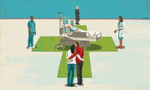 Illustration, of health professionals and loved ones contemplating dying patient,  by Eva Bee