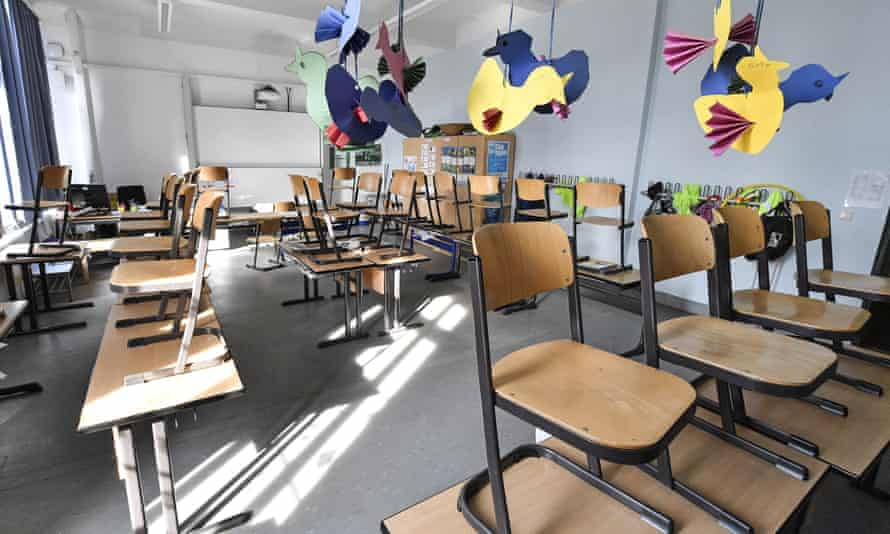 A classroom at a closed primary school in Gelsenkirchen, Germany, on Monday