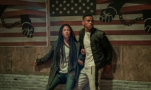 Being black or brown in a white, gun-loving America ... Lex Scott Davis and Joivan Wade in The First Purge.