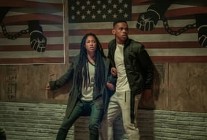 'Social commentary served a little too rare': The First Purge, starring Lex Scott Davis and Joivan Wade.