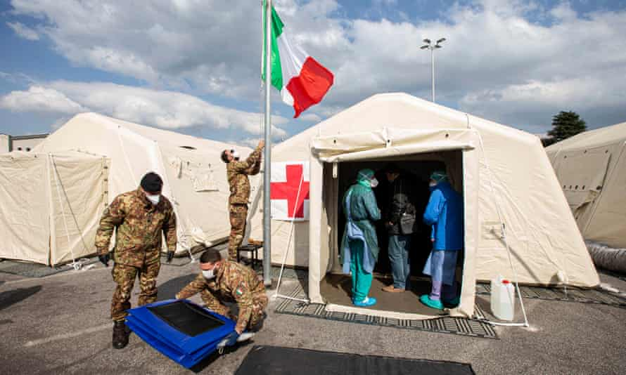 Tents used to make a field hospital in Crema, Italy.